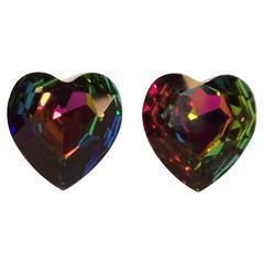 1980's Aurora Borealis Crystal Heart Shaped Clip On Earrings