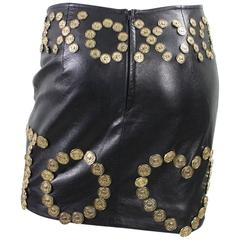 Moschino Live to Love Leather Skirt