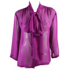 1990's Chanel Silk Chiffon Blouse