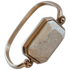 Goossens Paris White Marble and Pale Gold Stones Bracelet