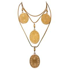 Yves Saint Laurent Gilt Metal Etruscan Statement Necklace with Medallions 70s