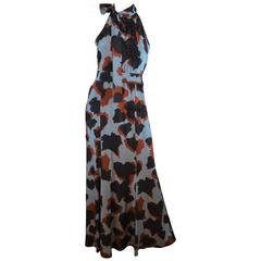 Gucci 2015 Silk Print and Bead Embellished Tie Neck Gown