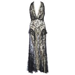 1930s Sheer Silk Lace and Net Gown