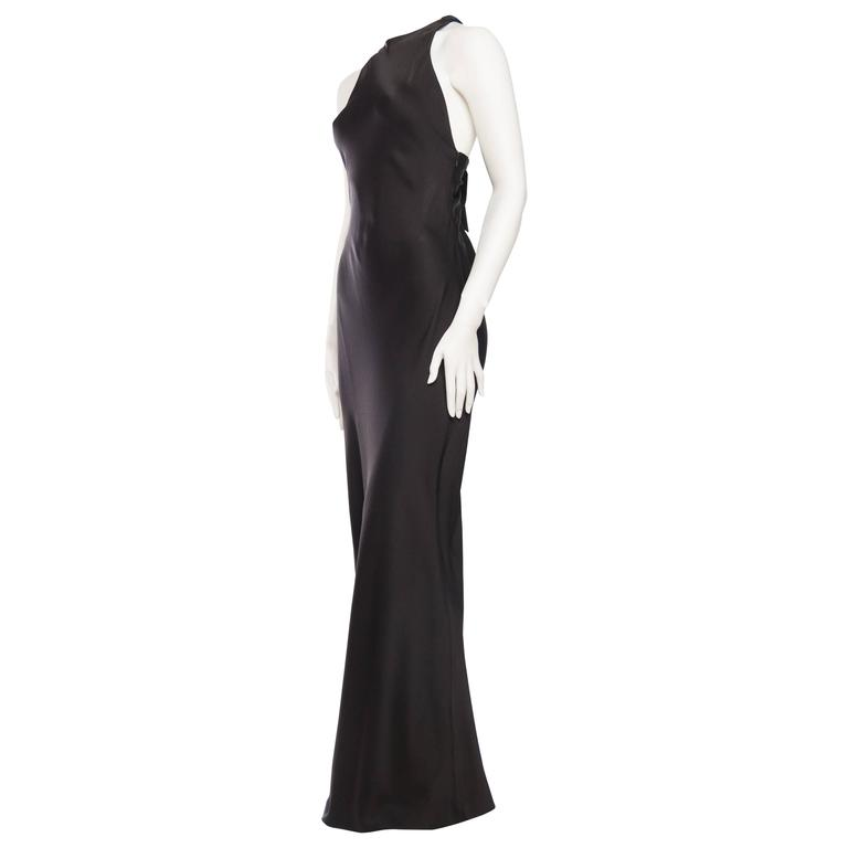 Yves Saint Laurent Bias Cut Gown with Cut-out Back.