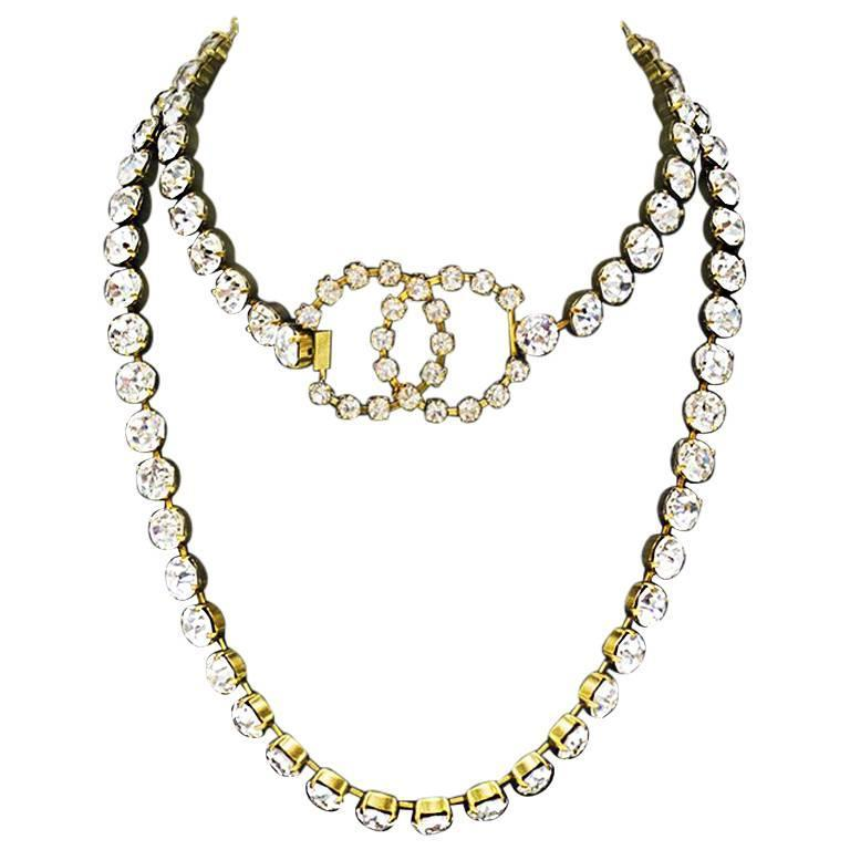 Spring 1995 Chanel Rhinestone CC Necklace/Belt 1