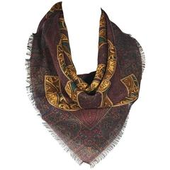 Red & Gold Chanel Printed Scarf