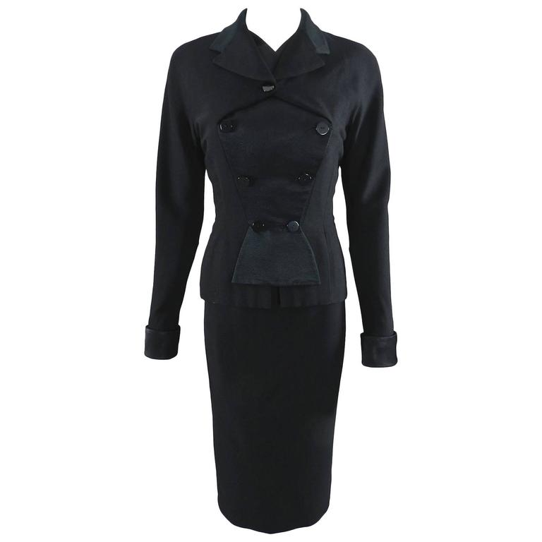 Pierre Balmain 1950's Black Silk Satin and Wool Skirt Suit For Sale