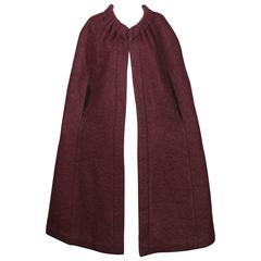 1960s Pauline Trigere Plum Mohair Wool Cape Coat