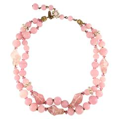 1950s Miriam Haskell Pink Glass Choker Necklace