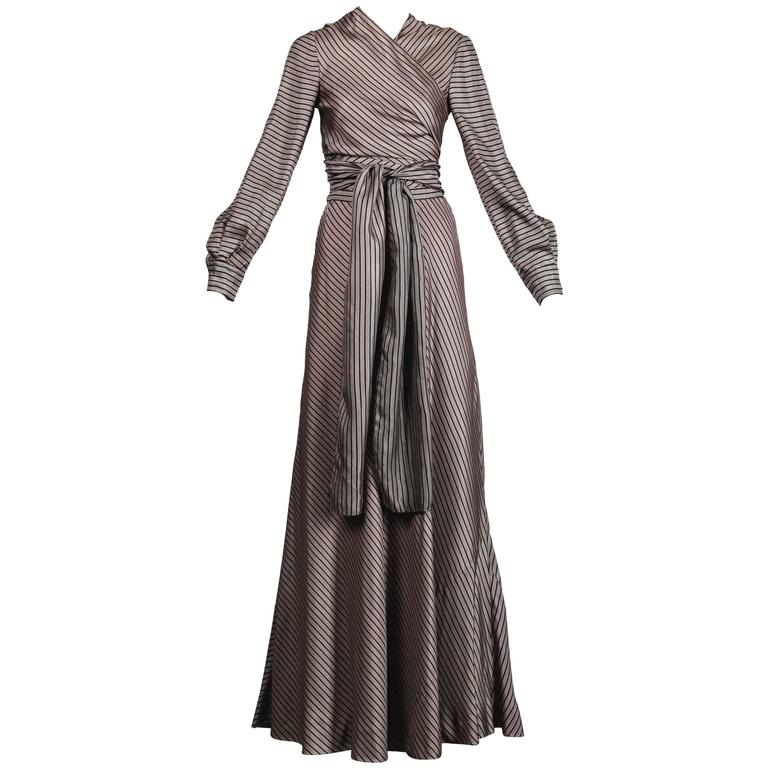 Jean Patou 1970s Vintage Silk Striped Wrap Top + Maxi Skirt Dress Ensemble 1
