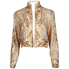 Bob Mackie Vintage Metallic Gold + White Sequin + Beaded Trophy Jacket