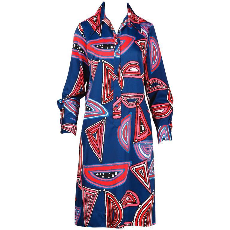 Lanvin 1970s Vintage Mod Op Art Print Shirt Dress