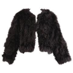 "Vintage Black Chubby Maribou Feather ""Fur"" Jacket"