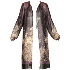 Hanae Mori 1970s Vintage Sheer Floral Print Duster Jacket