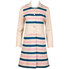 Misca 1960s Vintage Italian Wool Candy Striped Knit Coat
