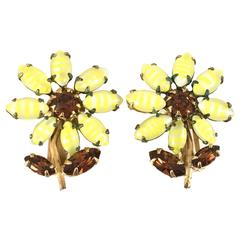 1950s Unsigned Schreiner Yellow Glass Flower Earrings