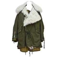 Balenciaga Oversized Shearling-Lined Cotton-Twill Parka 36  Mint