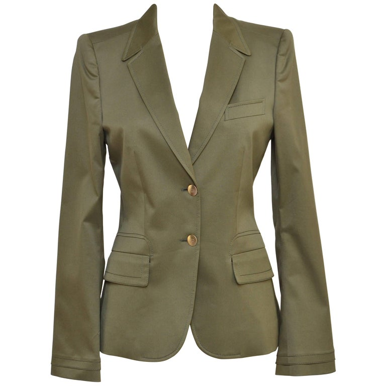 13b798a77a Gucci Army Green Blazer Jacket SZ 40 Mint
