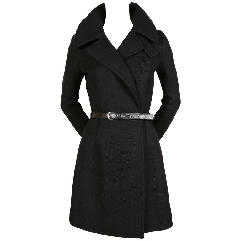 Balenciaga by Nicolas Ghesquiere black runway coat with leather belt, 2002
