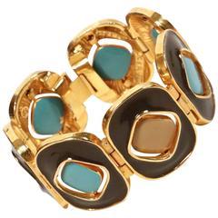 1960's PIERRE CARDIN reversible enamel & gilt metal bracelet