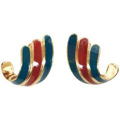1970's LANVIN enameled and gilt earrings