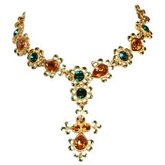 Yves Saint Laurent faceted glass and enameled gilt necklace with drop, 1990s