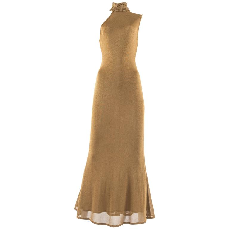 Gianni Versace 1997 gold knitted evening dress 1