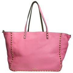 Valentino Bi Colour Pink/Green Stud Reservable Tote Bag with Strap