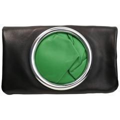 Celine Black Soft Nappa Lamskin Leather Pouch Eyelet Handbag