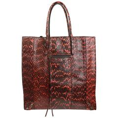 Balenciaga Python Leather Faded black and Coral Paper Tote Bag