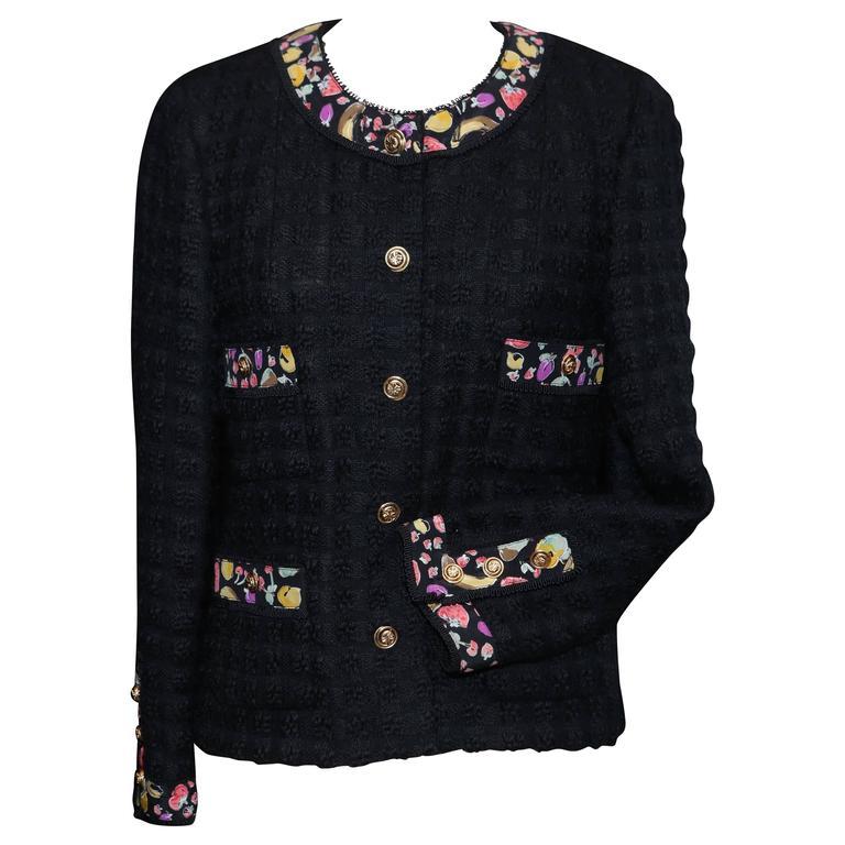 1990s Chanel Black Tweed and Fruit Pattern Silk Jacket