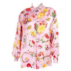 Gucci Silk Butterfly and Flower Print Shirt