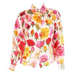 Gucci 80s Rose Print Silk Shirt