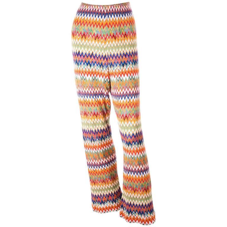 Missoni Zig Zag Flame Stitch 70s Knit Pants 1