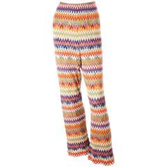 Missoni Zig Zag Flame Stitch 70s Knit Pants