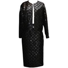Early 1990s Chanel Black Sequins Skirt Suit