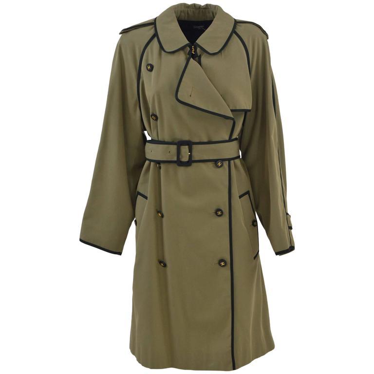 1990s Chanel Khaki Green Trench Coat