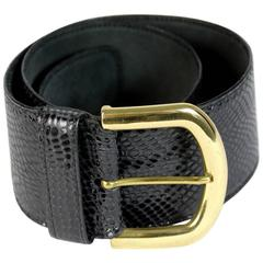 1980s Gianfranco Ferrè Black Snackeskin Belt Golden Buckle
