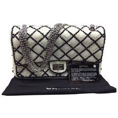 Chanel White and Black Sequined Flap Shoulder Bag