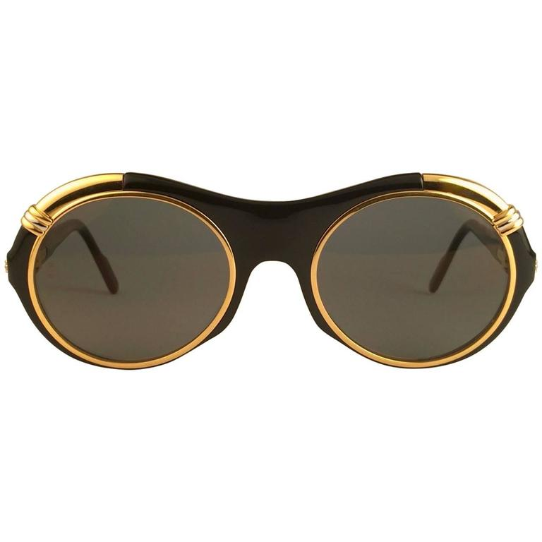 9a007a747b65 New Cartier Diabolo Gold   Black 53mm 24k Gold Sunglasses France For Sale