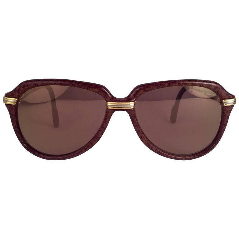 New Cartier Vitesse Brown Jaspe 58MM 18K Gold Plated Sunglasses France  1