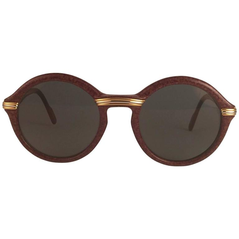 New Cartier Cabriolet Round Brown 49MM 18K Gold Sunglasses France 1990's 1