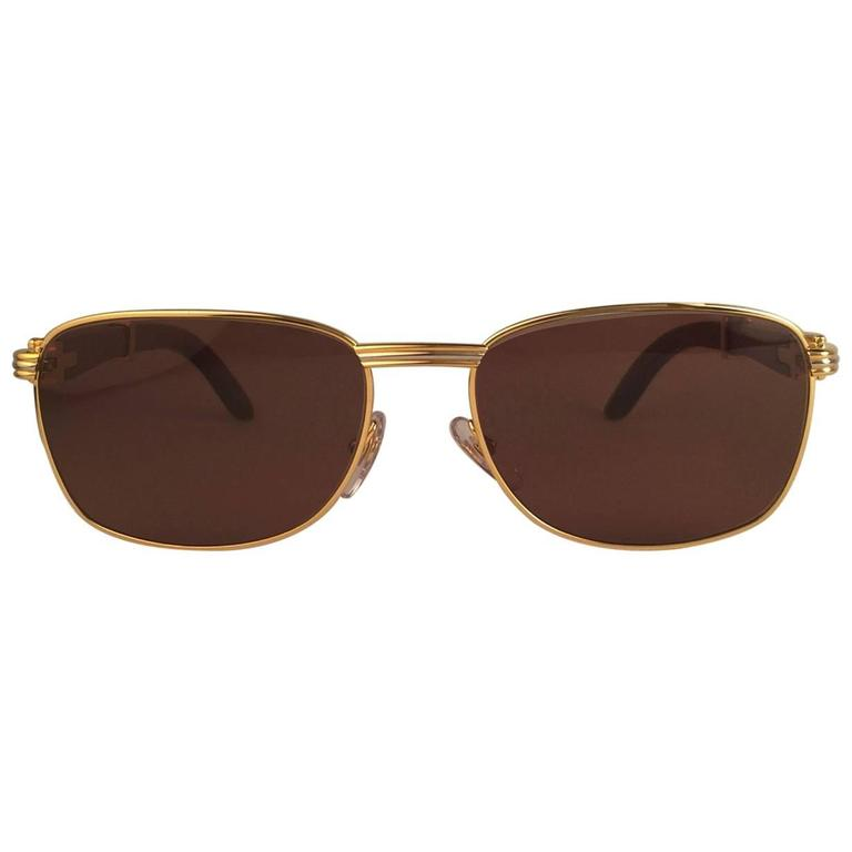 New Cartier Wood Amboise Gold & Precious Wood 56MM Sunglasses Brown Lens France For Sale