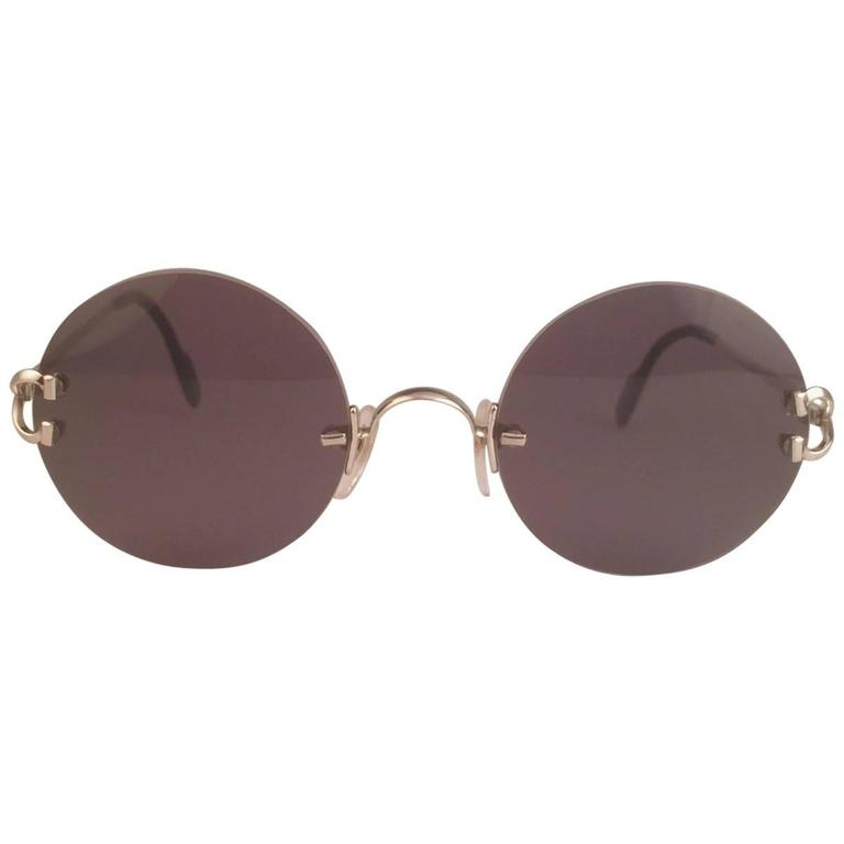 982db9eb0d New Cartier Madison Round Rimless Platine 20mm Grey Lenses France Sunglasses  For Sale