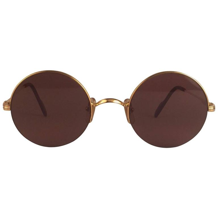 62a08b5e20 New Cartier Mayfair Round Half Frame Gold 47mm Brown Lens France Sunglasses  For Sale