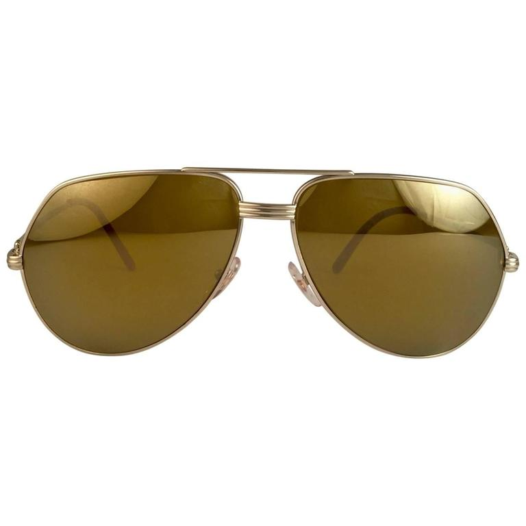 New Cartier Platinum 62mm Vendome Gold Mirror Sunglasses France 18k 1983