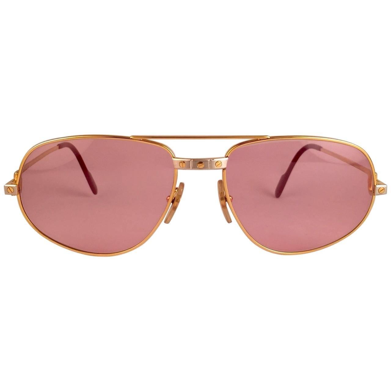 Cartier Santos Romance Rose Pink Lenses 58mm Drake 18k Gold Sunglasses