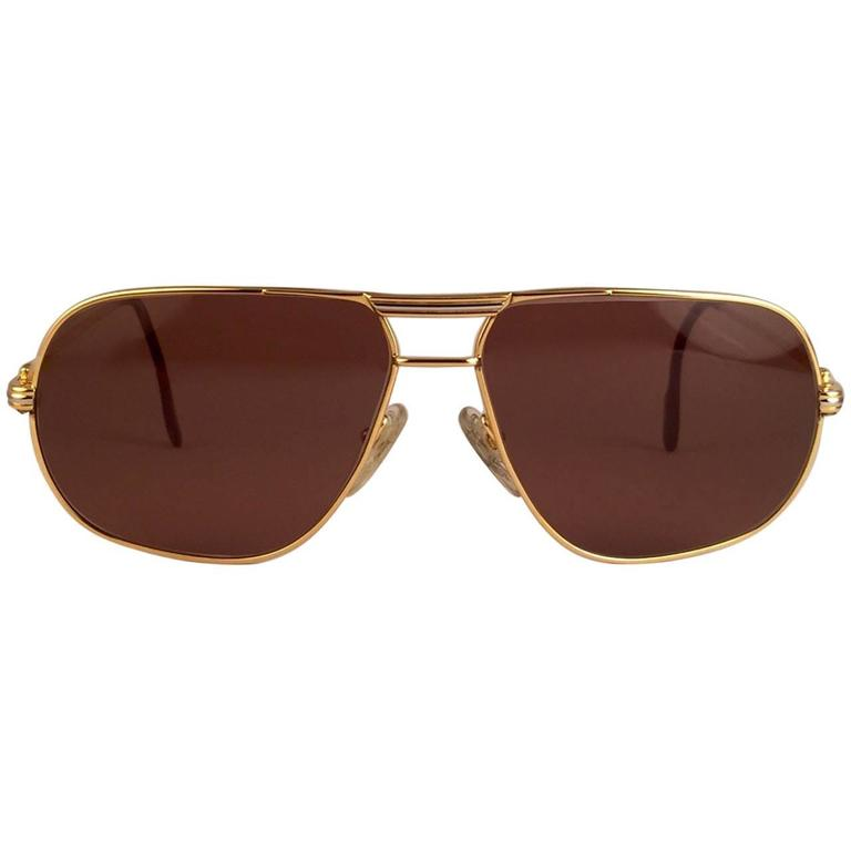 Cartier Tank 62mm Large Vendome Sunglasses France 18k Gold Sunglasses