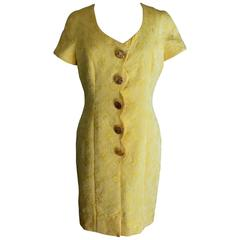 1970s Frank Usher Yellow Cotton Blend Tunic Dress Floral Embossed