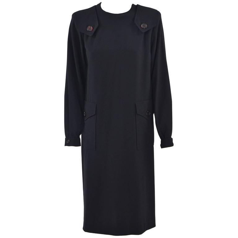 1980s Salvatore Ferragamo Black Wool Dress